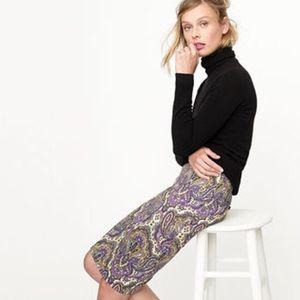 J. Crew No. 2 Paisley Print Pencil Skirt Size 2